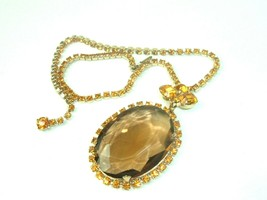 Yellow Rhinestone Topaz color Faceted Pendant Ornate Statement Vtg Necklace - $59.35