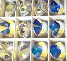 Two Swarovski® Crystal Xilion Heart Pendants You Choose Size and Color