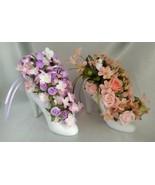 Lot (2) High Heeled Shoe Floral Arrangements w/ Cherubs (Pink/Purple & P... - $48.90