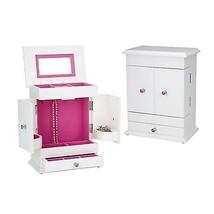 Reed & Barton Bella Girls Jewelry Box Chest Wooden Drawers White Pink Li... - $80.00