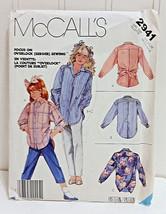 MCCALL'S Vtg 1987 Pattern #2941 Girls Medium 8-10 Retro Shirt Top Blouse... - $18.86