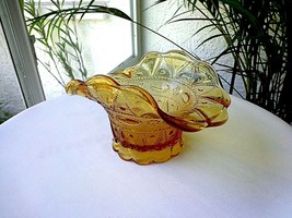 Indiana Amber Glass Vintage Flower Vase  c 1920's - $24.74