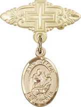 14K Gold Filled Baby Badge with St. Jason Charm Pin with Cross 1 X 3/4 inch - $81.00