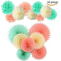 Tissue Paper Pom Poms-9pcs of 10 Inch Paper Flowers with 7pcs Tissue Pap... - $10.80