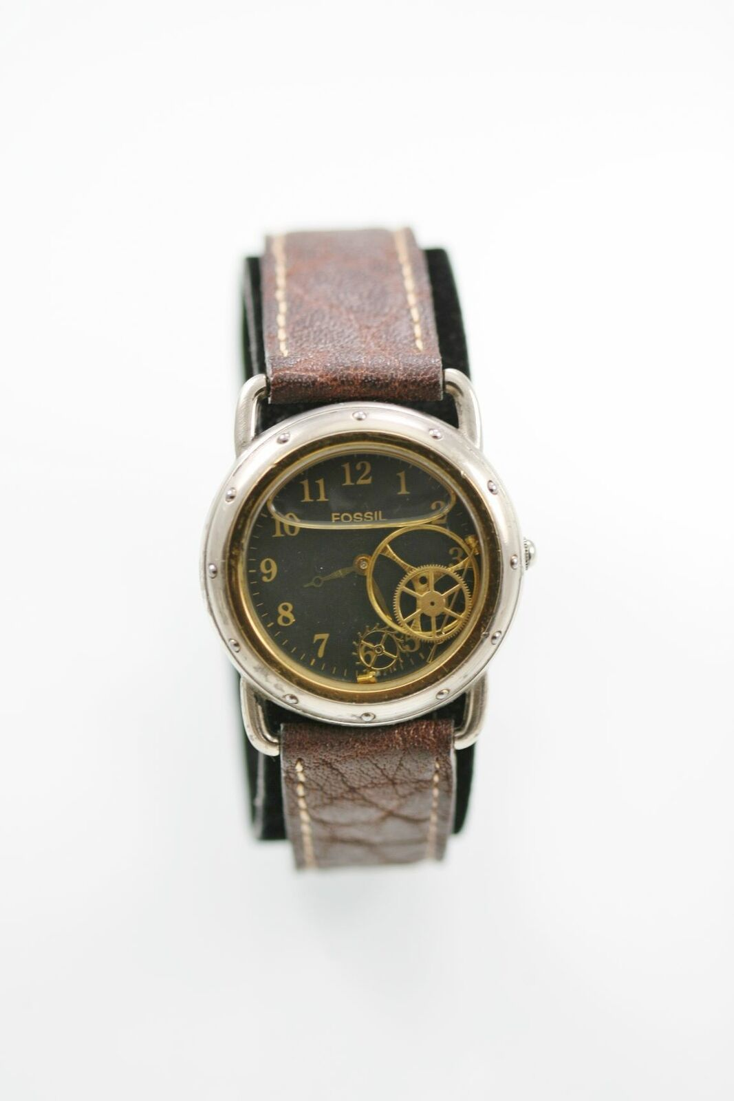 Primary image for Fossil Watch Men Stainless Silver Gold Water Res Batt Brown Leather Gray Quartz
