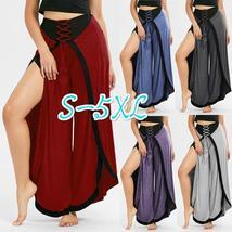 New Women Fashion Lace Up High Slit Palazzo Pants Plus Size S-5XL
