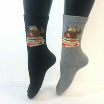 2 PAIRS Foozys Women's Socks, Professor Owl Print, Gray, Black, NOP - $7.92