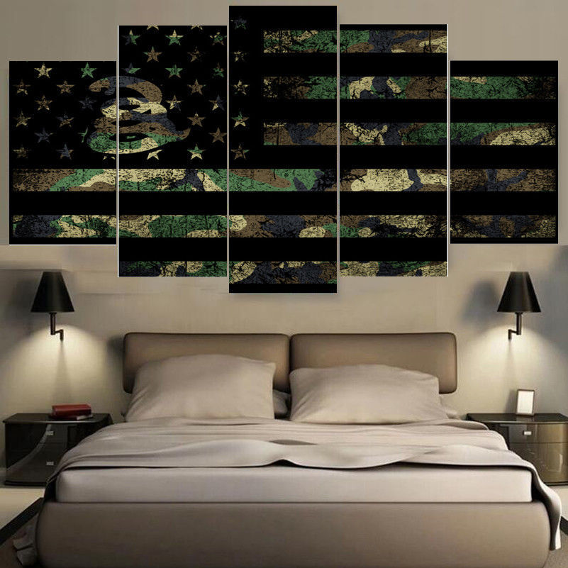 framed 5 piece camouflage military american flag canvas wall art home decor flag canvas. Black Bedroom Furniture Sets. Home Design Ideas