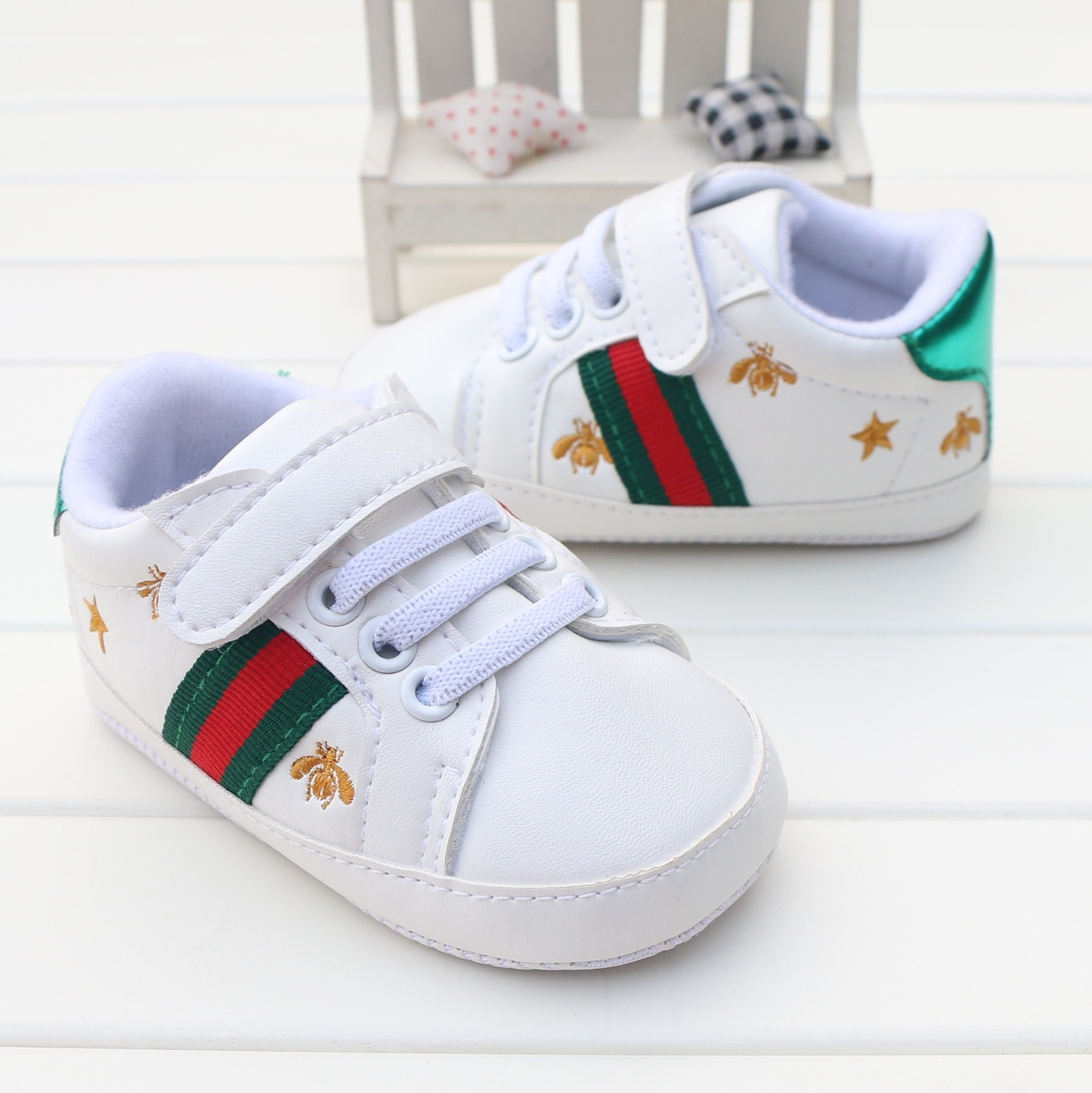 White Baby Boys Walking Shoes Bee, Baby Girls Shoes for 0 ...