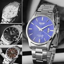 SWIDU Luxury Stainless Steel Band Date Analog Quartz Mens Business Wrist Watch  - £7.59 GBP