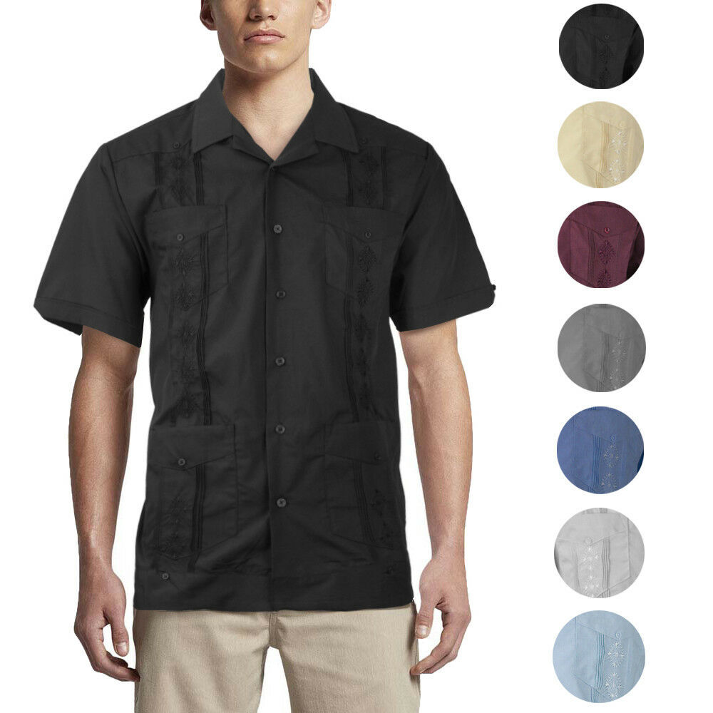 Alberto Cardinali Men's Guayabera Short Sleeve Cuban Casual Dress Shirt