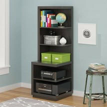 Wood Corner Bookcase Media Audio Stand Storage Shelves Picture Tall Book... - $135.53