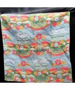 Vintage Scarf Bandana Made in the USA Farmland Landscape Flowers 20 x 21 - $32.99