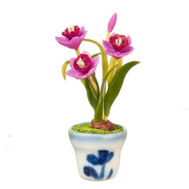 DOLLHOUSE MINIATURES MAUVE DAFFODILS IN POT #G7571 - $9.50