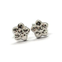 18K WHITE GOLD KIDS EARRINGS, FINELY HAMMERED MINI FLOWER DAISY, 0.28 INCHES   image 2