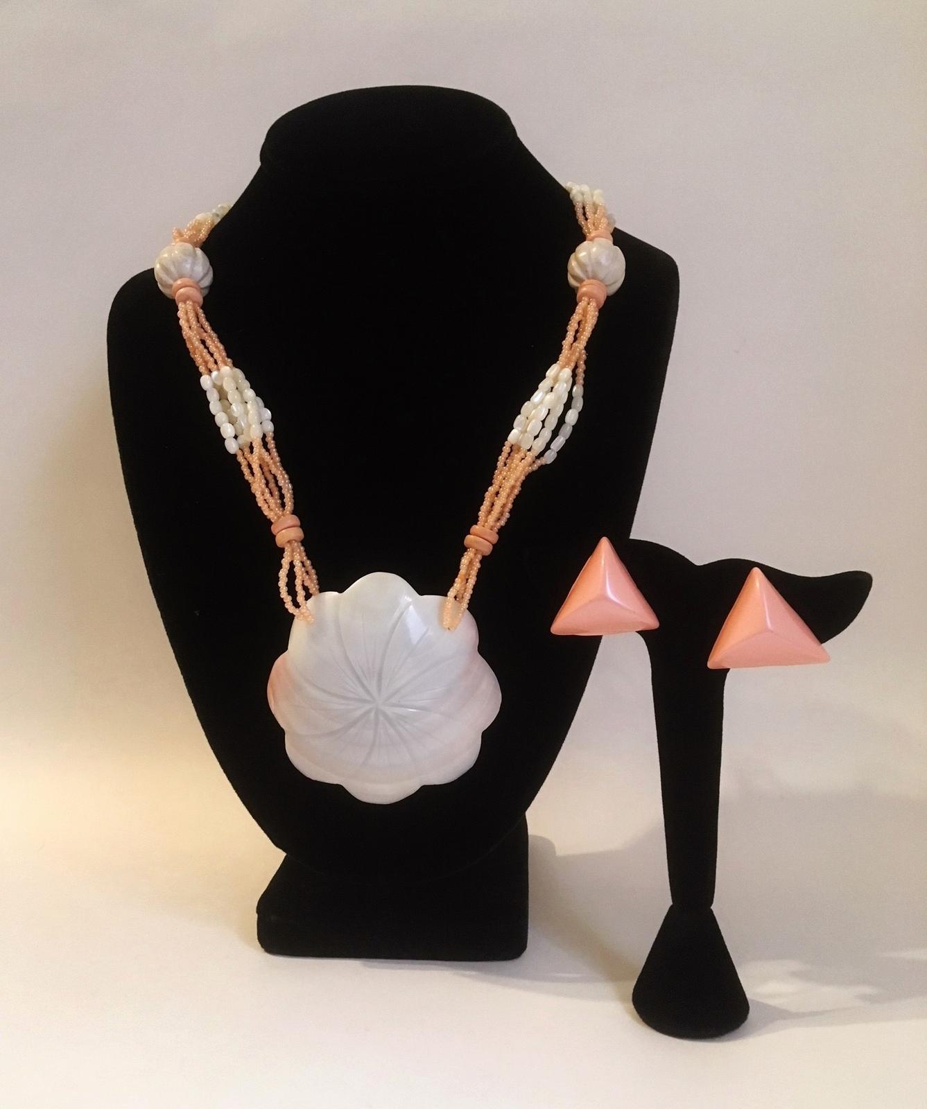 Set necklace earrings pink shell  1    jc