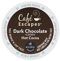 Cafe Escapes Dark Chocolate Hot Cocoa  24 to 144 K cups Pick Any Size FREE SHIP - $20.98+