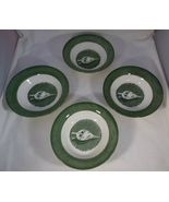 """Royal Colonial - Homestead 4 Berry Sauce Bowls Green Bellows Center 5.5"""" Vintage - $8.90"""