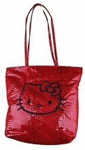 """NEW Hello Kitty 14"""" x 13"""" Two Faced Faux Snake Skin Red Black Tote Bag NWT"""