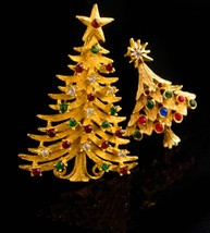 Vintage Christmas Tree brooch set / Signed MYLU star pin / Christmas gift for he image 2