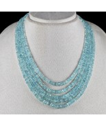 NATURAL BLUE AQUAMARINE FACETED ROUND BEADS 5 LINE 431 CARATS LADIES NEC... - $342.00