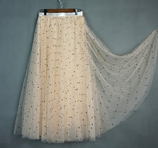 CHAMPAGNE Long Tulle Skirt Women Dotted Puffy Tulle Skirt Champagne Party Skirt image 7