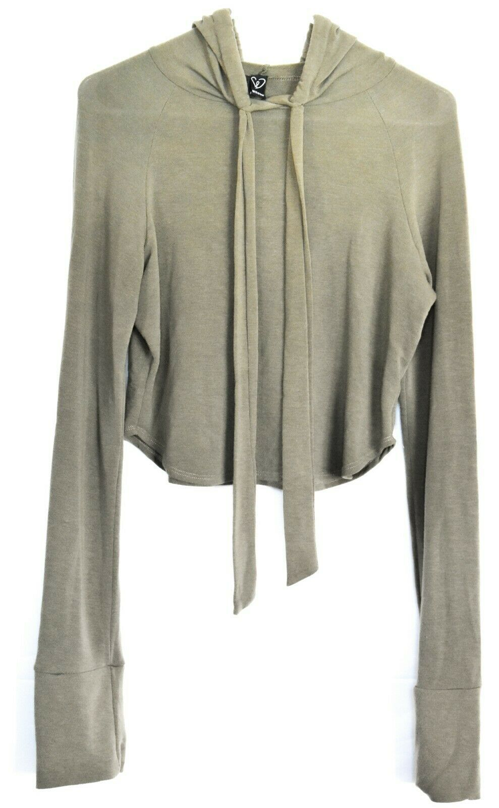 Windsor Olive Green Cropped Drawstring Pullover Hooded Top Hoodie Size S