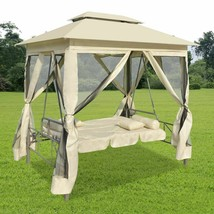 vidaXL Gazebo Swing Chair Cream White Garden Outdoor Patio Porch Seat Ha... - $391.99