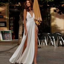 Spaghetti Straps Beach Chiffon V-neck Double High Split Wedding Gown