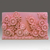Sunflower Galore - Detail of high relief sculpture,silicone mold, soap mold - $19.79