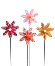 "Set of 4 - 18.5"" Calypso Design Spinning Flower Metal Garden Stakes Single Prong"