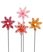 "Set of 4 - 18.5"" Calypso Design Spinning Flower Metal Garden Stakes Single Prong image 1"