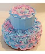Dezicakes Fake Cake Two Tier Pink & Blue Rosette Baby Shower unedible Prop - €39,82 EUR