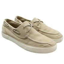 POLO Ralph Lauren Sander Mens Sz 9 Beige Tan 2 Eye Boat Shoes Canvas Sne... - $18.80