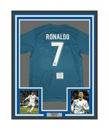 FRAMED Autographed/Signed CRISTIANO RONALDO 33x42 Madrid Blue Jersey BAS... - $749.99