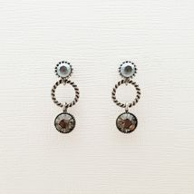 Three Round Circle Made With Swarovski Stone Dangle Earrings 925 Silver Ear E210 image 3