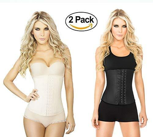 c95ed036f0e 51lfbedh9el. sl1500. 51lfbedh9el. sl1500. Ann Chery Waist Trainer and  Shaper - Black 3 Hook Latex Waist Cincher ...