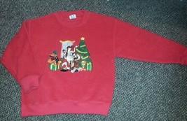 WARNER BROS Cartoon Red Fleece Holiday Sweatshirt Girls MEDIUM - $3.88