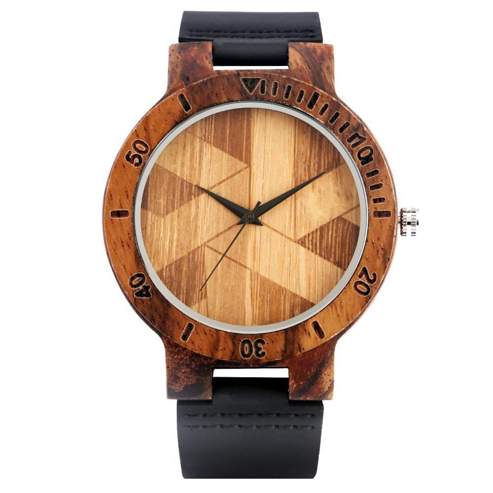 Vintage Irregular Geometric Pattern Display Men's Wood Watch Women Watches Reloj - $42.89
