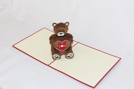 I Love You Bear 3D Pop Up Greeting Card Handmade Happy Birthday 168 - $6.99