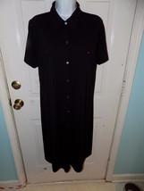 Liz Claiborne Black Solid Button Down Dress Size XL Women's EUC - $41.31