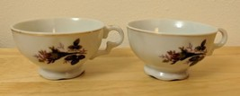 "Small 2.5"" Tall Rosebud China Tea Cups w/ Green Leaves, Gold Trim Vintag... - $5.00"