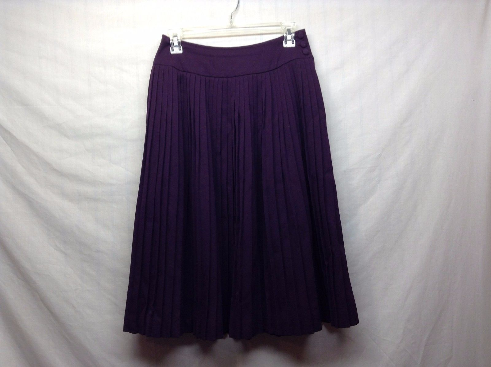 Tahari Pure Wool Heavy Weight Ruffled Deep Purple Skirt Sz S