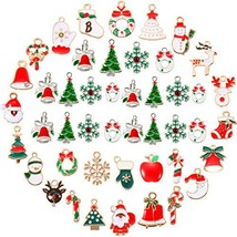 46 Pieces Assorted Enamel Christmas Charm Pendant Silver Plated Christma... - $32.20