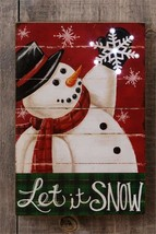 SNOWMAN new LED wood wall hanging print / LET IT SNOW /6 hr timer - $26.18