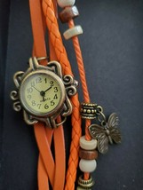 Orange Quartz Butterfly Vintage Style Women Teen Girl Wrap Watch Wristwa... - $7.00