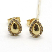 BOUCLES D'OREILLES OR JAUNE 18K, GOUTTES AVEC ZIRCONIA CUBES, MADE IN ITALY, 750 image 1