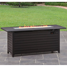 Outdoor Gas Fire Pit Rectangular Patio Heater Table Bronze Backyard Deck... - $493.67