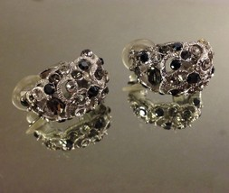 Vintage Smoke/Black/Clear Huggie Style Cluster Occasion Wedding Pierced Earrings image 2