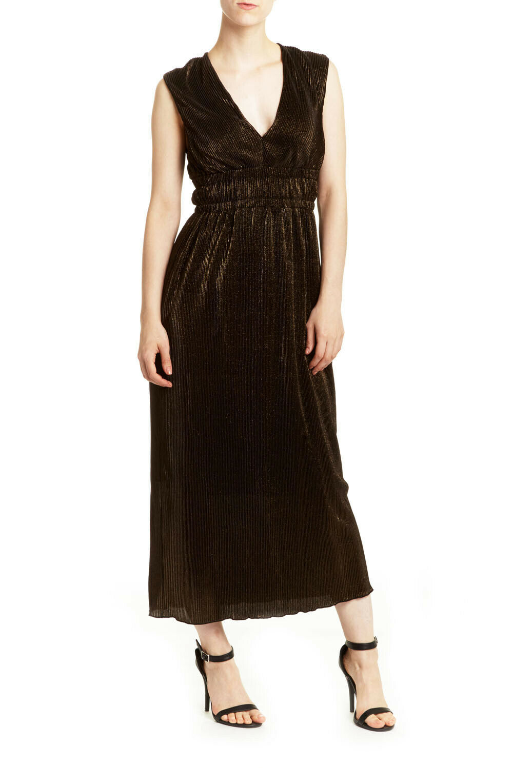 Romeo and Juliet Couture NEW Womens Pleated Metallic Maxi Dress Gold Size M $175